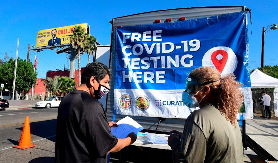 A pop-up Covid-19 testing site in Los Angeles, California on 29 October 2020.
