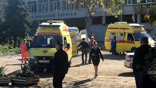 PHOTO: The site of an explosion  at a college in the Crimean city of Kerch, Oct. 17, 2018. (Tass via ZUMA Press)