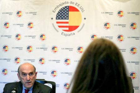 U.S. Venezuela envoy Elliott Abrams speaks during a news conference at U.S. Embassy in Madrid, Spain, April 11, 2019. REUTERS/Sergio Perez