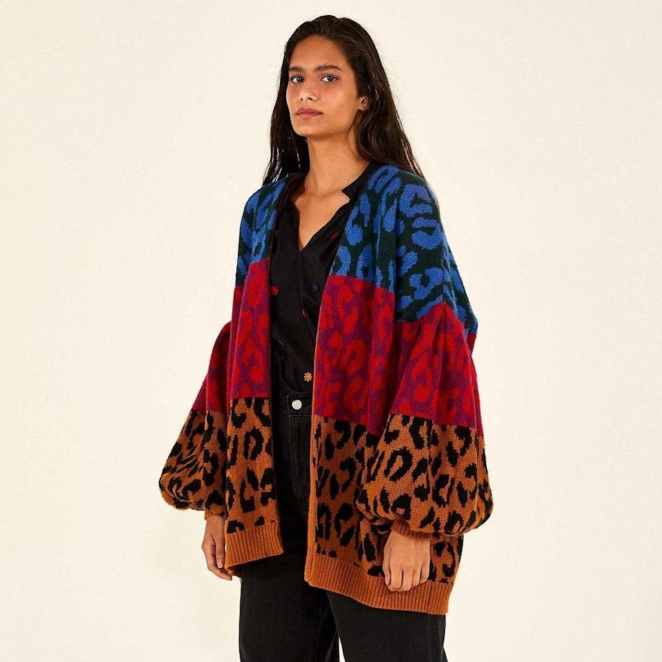 """Autumn calls for bold prints, like this moody leopard number from Farm Rio. The slouchy shoulders and roomy fit make it ideal for styling with light-wash jeans and your favorite <a href=""""https://www.glamour.com/story/best-fall-shoes?mbid=synd_yahoo_rss"""" rel=""""nofollow noopener"""" target=""""_blank"""" data-ylk=""""slk:combat boots"""" class=""""link rapid-noclick-resp"""">combat boots</a>. $195, Farm Rio. <a href=""""https://www.farmrio.com/collections/sweaters-knits/products/mixed-ikat-dyed-leopards-cardigan"""" rel=""""nofollow noopener"""" target=""""_blank"""" data-ylk=""""slk:Get it now!"""" class=""""link rapid-noclick-resp"""">Get it now!</a>"""