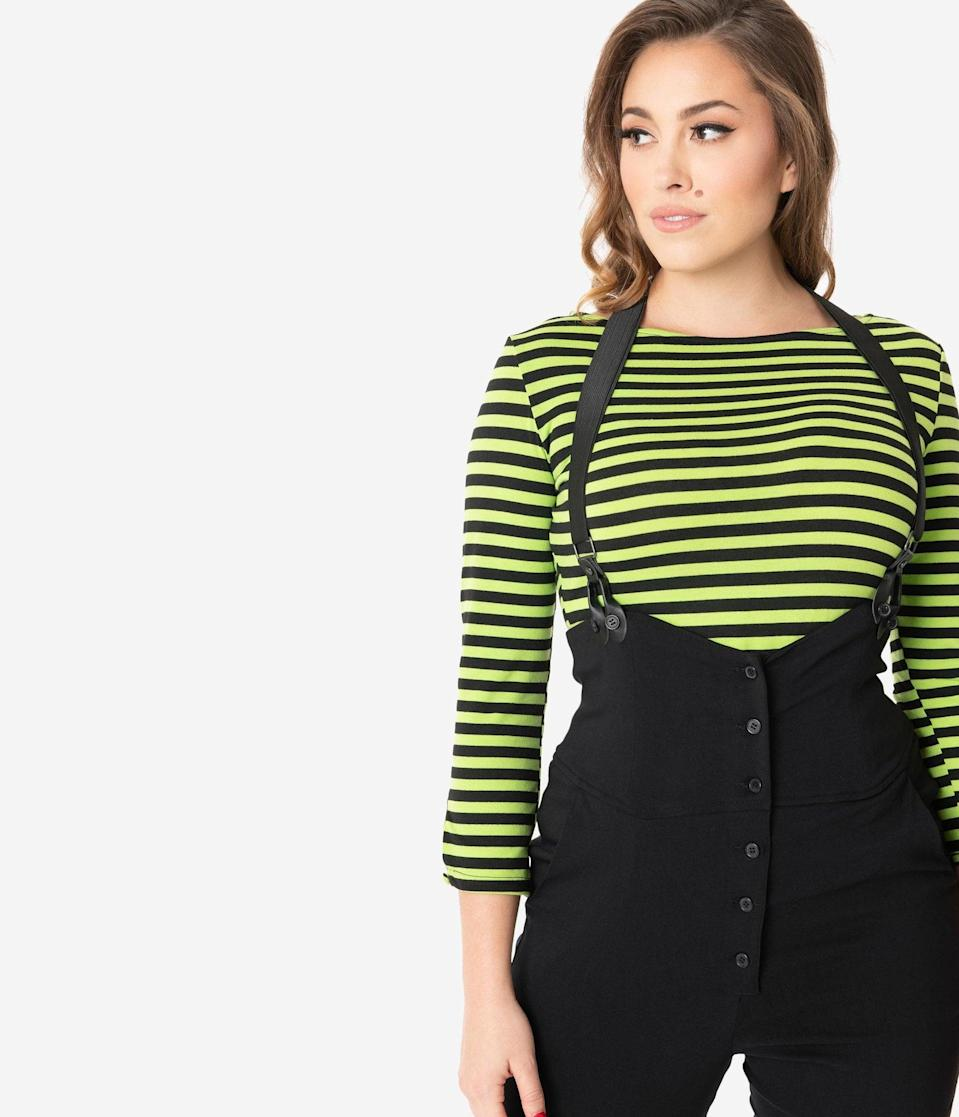 <p>You'll practically glow in the dark with this <span>Unique Vintage Neon Green and Black Stripe Gracie Top</span> ($58). </p>
