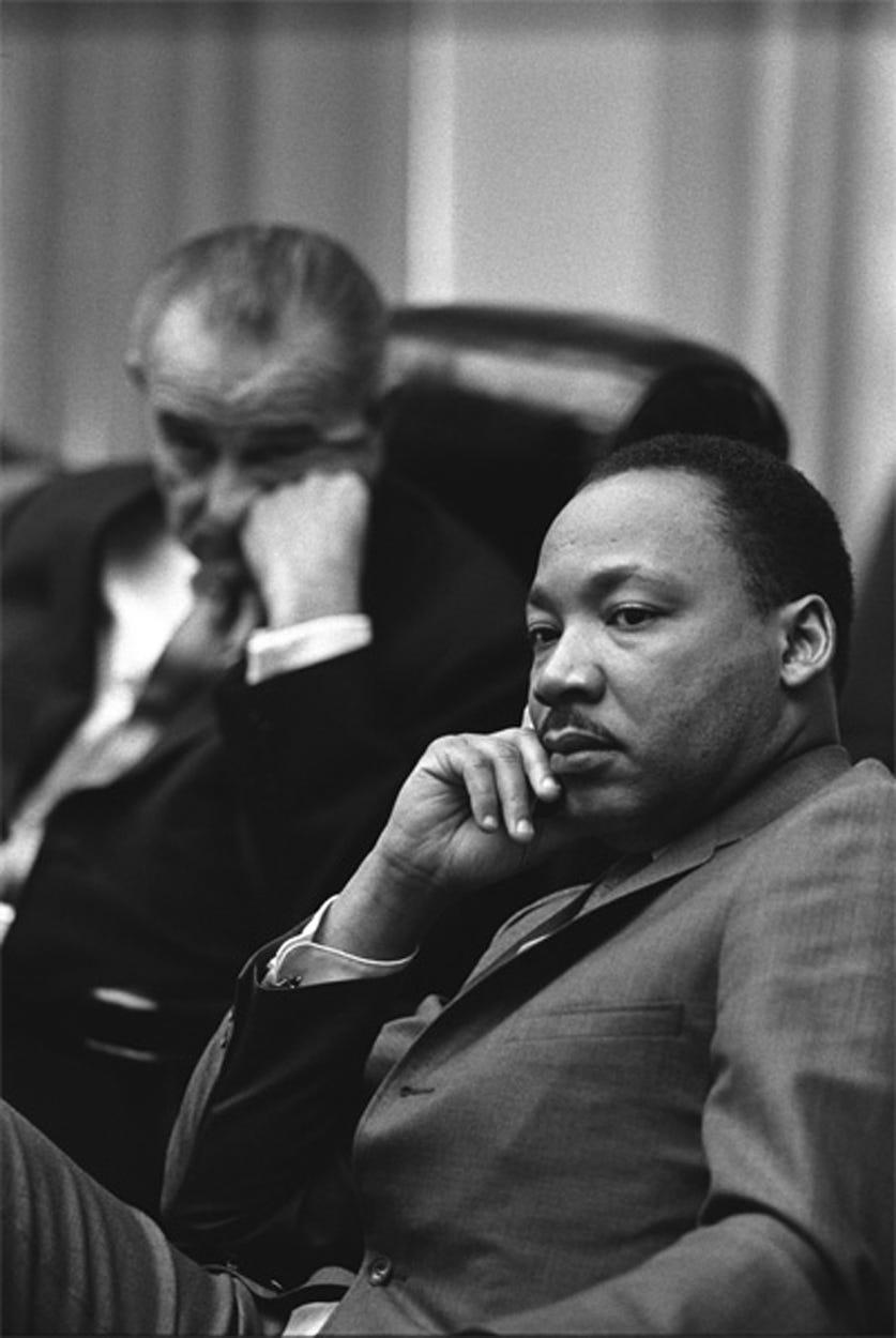 President Lyndon B. Johnson and Rev. Dr. Martin Luther King Jr. in the White House in 1966.