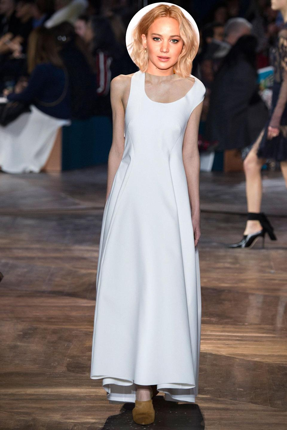 <p>Since we all know J.Law will be wearing Dior, the question comes down to which look she'll choose. We think she'd be a vision in white in this simple yet sleek couture dress. </p>