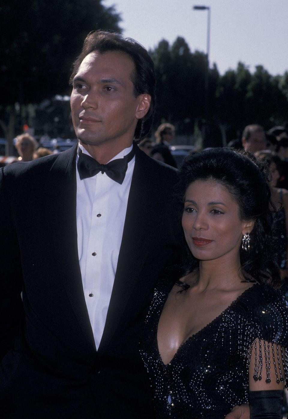 """<p>Nominated for """"L.A. Law,"""" Smit and De Jesus look fantastic in sultry black—hers, studded with beads and fringed sleeves.</p>"""