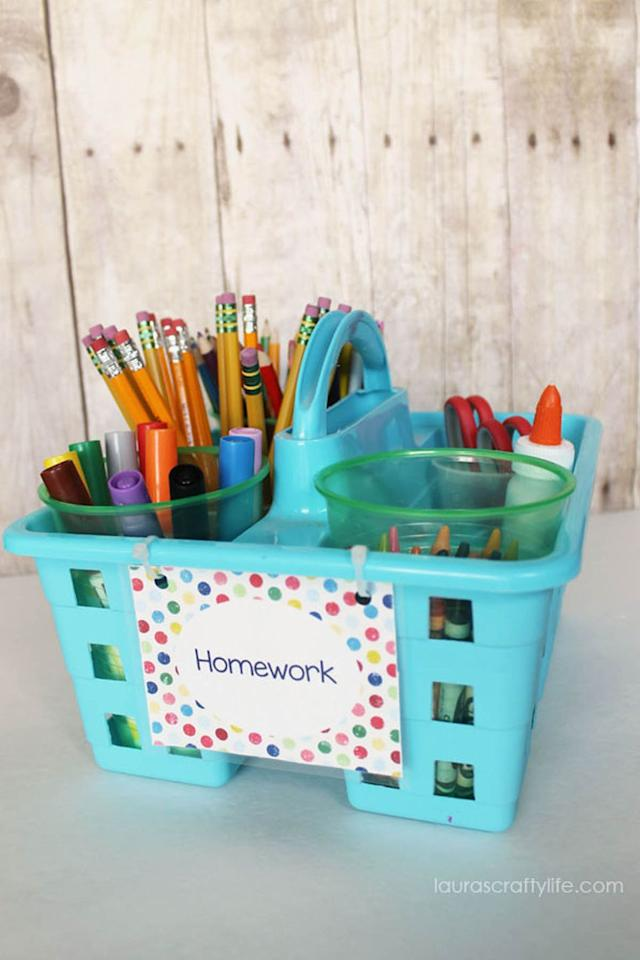 "<p>Your kids are sure to stay on top of <a rel=""nofollow"" href=""https://www.womansday.com/relationships/family-friends/a19459584/is-homework-bad-for-kids/"">their homework assignments</a> with this handy kit that keeps all their supplies in one place. </p><p><strong>Get the tutorial at <a rel=""nofollow"" href=""http://www.laurascraftylife.com/2014/08/homework-caddy.html?"">Laura's Crafty Life</a>. </strong></p><p><strong>What you'll need: </strong>Shower caddy ($6, <a rel=""nofollow"" href=""https://www.amazon.com/Small-Utility-Shower-Caddy-Tote/dp/B01M8JH8JG"">amazon.com</a>)</p>"