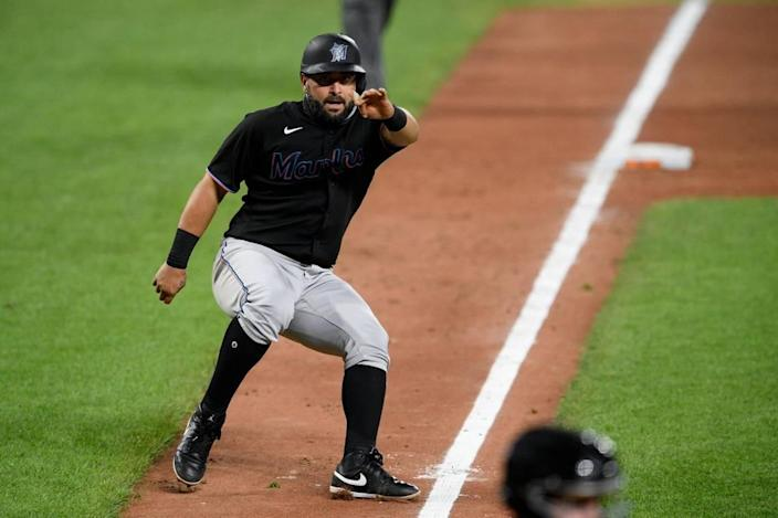 Miami Marlins' Francisco Cervelli runs on the field during a baseball game against the Baltimore Orioles, Thursday, August 6, 2020, in Baltimore.