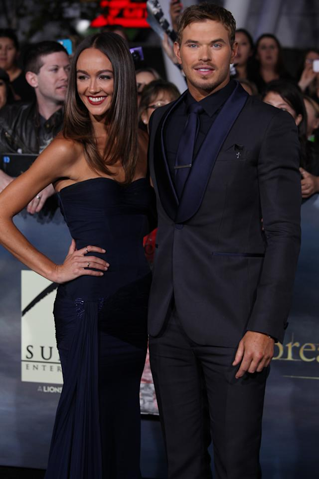 "Kellan Lutz (R) and Sharni Vinson arrive at ""The Twilight Saga: Breaking Dawn - Part 2"" Los Angeles premiere at the Nokia Theatre L.A. Live on November 12, 2012 in Los Angeles, California."