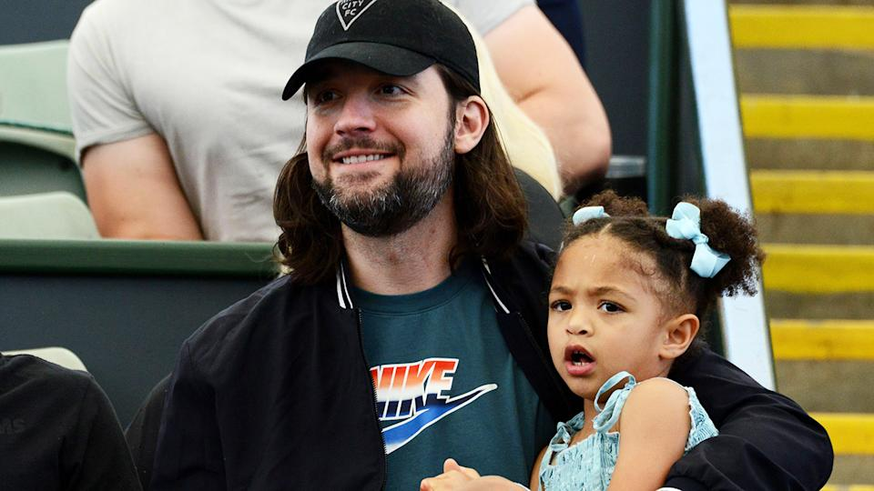 Serena Williams' husband and daughter, pictured here watching her play in Adelaide in January.