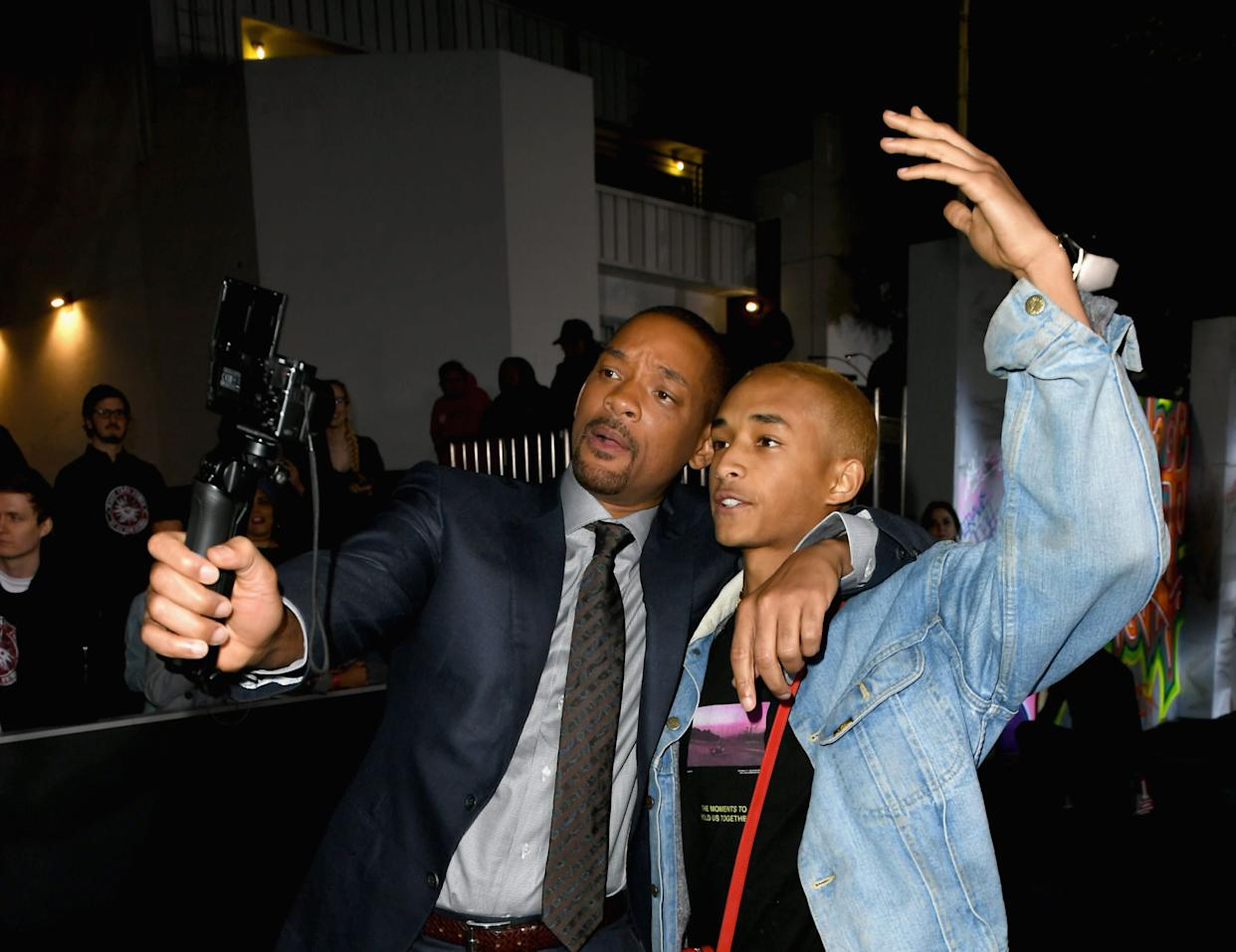 WESTWOOD, CA - DECEMBER 13: Will Smith and Jaden Smith attend the Premiere Of Netflix's 'Bright' at Regency Village Theatre on December 13, 2017 in Westwood, California. (Photo by Kevin Winter/Getty Images)