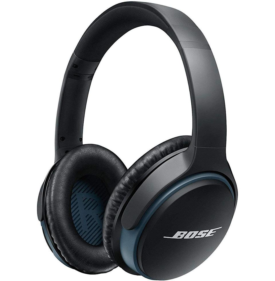 """<p><strong>Bose</strong></p><p>amazon.com</p><p><strong>$159.00</strong></p><p><a href=""""https://www.amazon.com/dp/B0117RGG8E?tag=syn-yahoo-20&ascsubtag=%5Bartid%7C10054.g.37144227%5Bsrc%7Cyahoo-us"""" rel=""""nofollow noopener"""" target=""""_blank"""" data-ylk=""""slk:Buy"""" class=""""link rapid-noclick-resp"""">Buy</a></p><p>These over-ear headphones deliver studio-level sound quality—and for $70 off, no less—with 15 hours of charge and the ability to switch between two Bluetooth devices.</p>"""