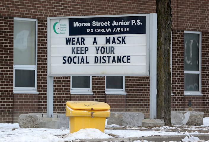 Toronto, ON- February 1  - . Morse Street Public School. Schools remain closed in Toronto.  Ontario faces stricter restrictions to slow the spread of the COVID-19 pandemic in Toronto. February 1, 2021.            (Steve Russell/Toronto Star via Getty Images)