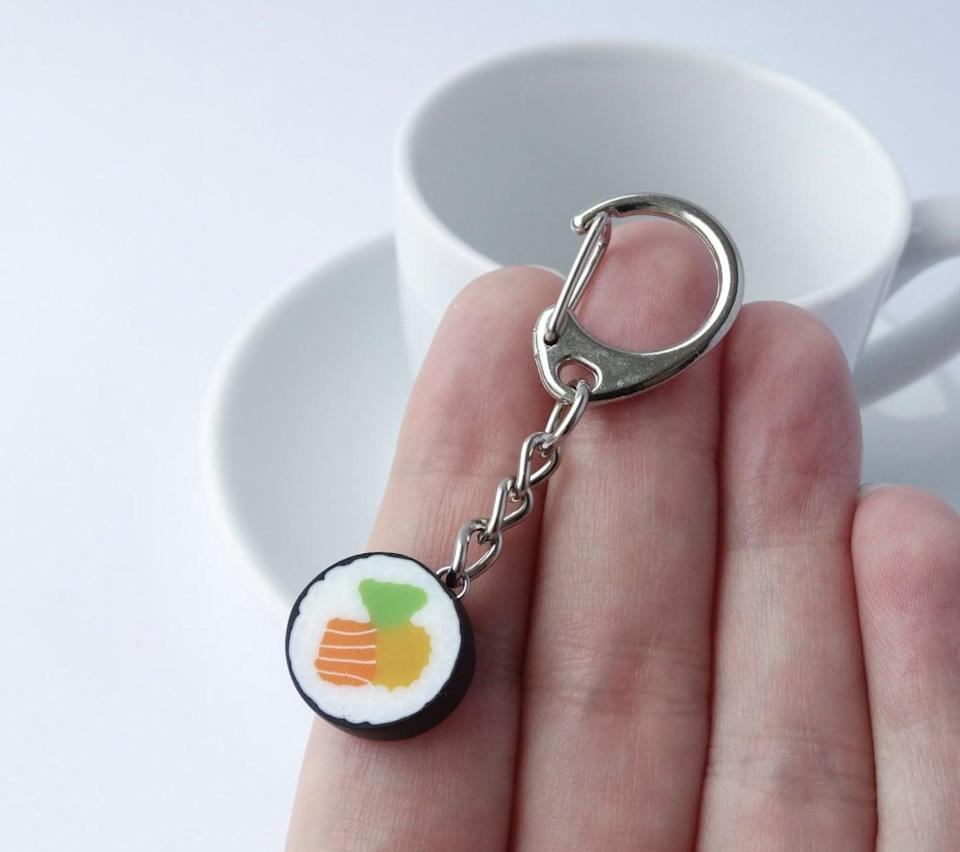 <p>They can put this <span>Maki Sushi Keychain</span> ($20) on their backpack, keys, or wallet.</p>