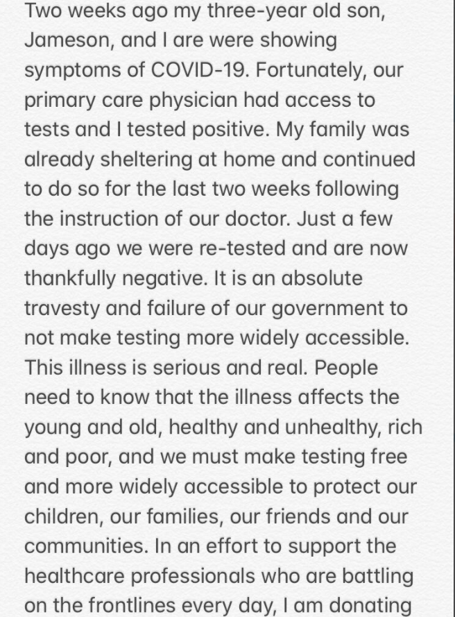 Pink's Twitter message
