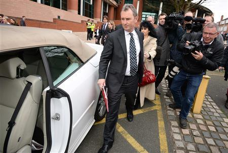Former deputy speaker of the House of Commons Nigel Evans leaves Preston Crown Court, northern England April 10, 2014. Evans was cleared on Thursday of sex abuse charges. REUTERS/Nigel Roddis