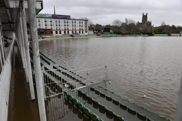 New Road Cricket Ground is flooded for the fifth time this year, as weather warnings are in place in the lead up to Christmas in Worchester, England, Thursday, Dec. 19, 2019. (Jacob King/PA via AP)