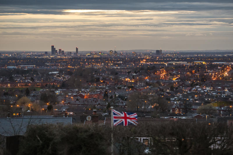 MANCHESTER, ENGLAND - MARCH 16: A Union flag flies in a garden overlooking Manchester on March 16, 2020 in Manchester, England. (Photo by Anthony Devlin/Getty Images)