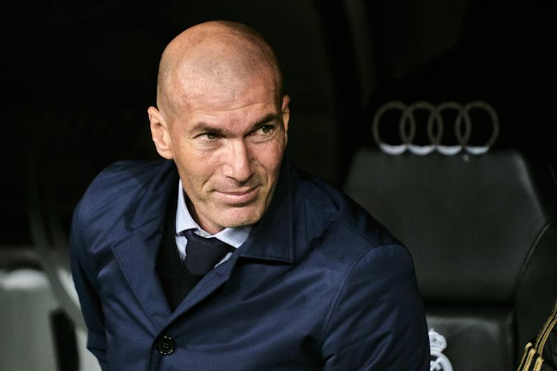MADRID, SPAIN - MARCH 01: Zinedine Zidane, manager of Real Madrid during the Liga match between Real Madrid CF and FC Barcelona at Estadio Santiago Bernabeu on March 01, 2020 in Madrid, Spain. (Photo by Sonia Canada/Getty Images)