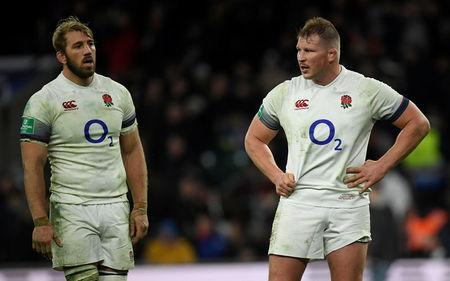 Rugby Union - Autumn Internationals - England vs Samoa - Twickenham Stadium, London, Britain - November 25, 2017 England's Chris Robshaw and Dylan Hartley after the match REUTERS/Toby Melville