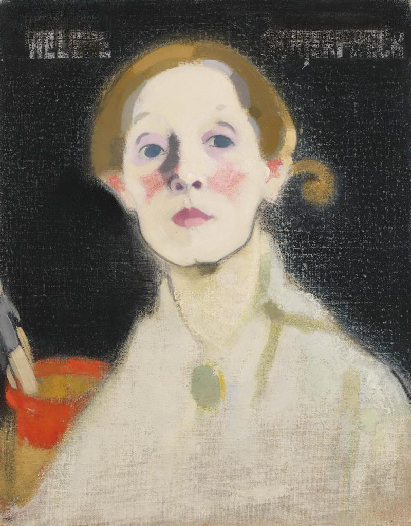 Helene Schjerfbeck, Self-Portrait, Black Background, 1915 (Herman and Elisabeth Hallonblad Collection/ Ateneum Art Museum/ Finnish National Gallery/Yehia Eweis)