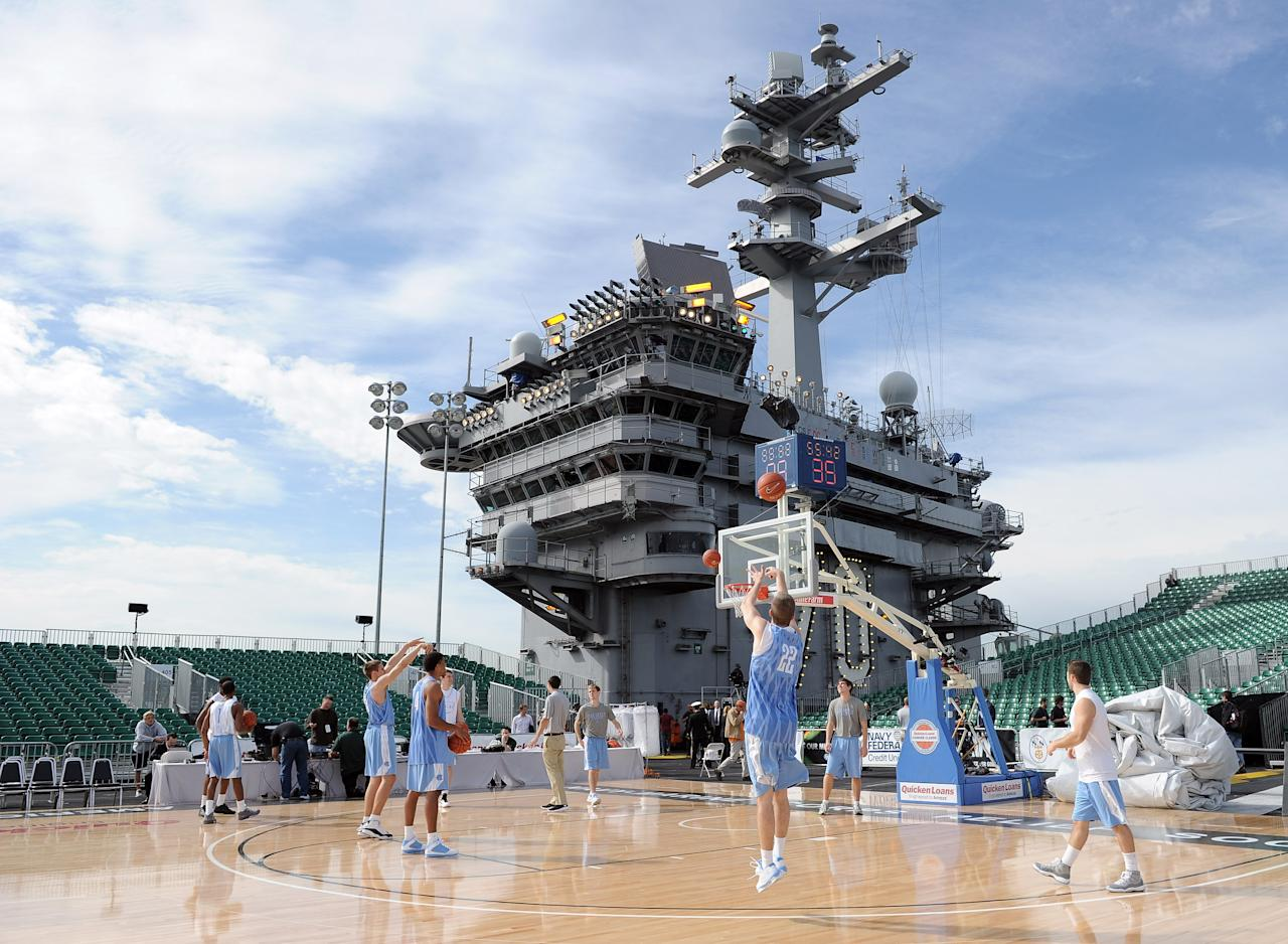 CORONADO, CA - NOVEMBER 11:  David Dupont #22 of the North Carolina Tar Heels shoots a jumper in practice during the Quicken Loans Carrier Classic on board the USS Carl Vinson on November 11, 2011 in Coronado, California.  (Photo by Harry How/Getty Images)