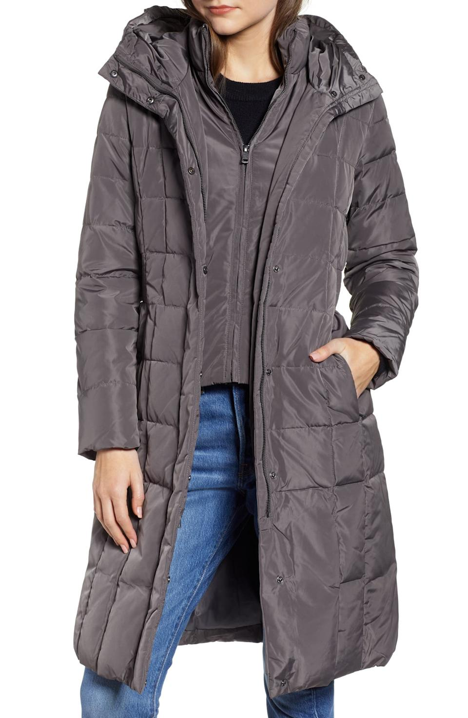 Cole Haan Bib Insert Down & Feather Fill Coat. Image via Nordstrom.