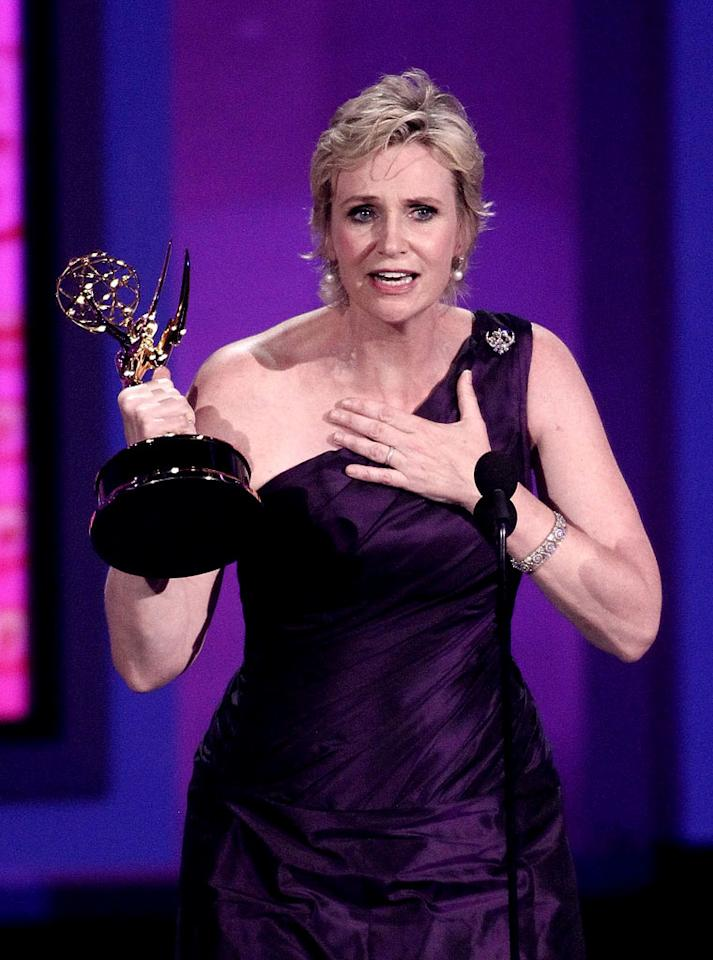 "<b>BEST: Jane Lynch Wins</b><br> We're so used to Lynch's aggressive and occasionally belligerent characters that her heartfelt acceptance of the Emmy for Best Supporting Actress in a Comedy was a refreshing change of pace. She's a rare example of everything good that could possibly happen in life happening to someone who actually deserves it.<br><br>  <a href=""http://www.televisionwithoutpity.com/show/emmy_awards/emmy_awards_2010_best_and_wors.php?__source=tw