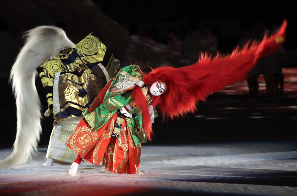 In this Friday, Sept. 20, 2019, file photo, kabuki performers take part in the opening ceremony of the Rugby World Cup ahead of the Pool A game at Tokyo Stadium between Russia and Japan in Tokyo. (AP Photo/Jae Hong, File)