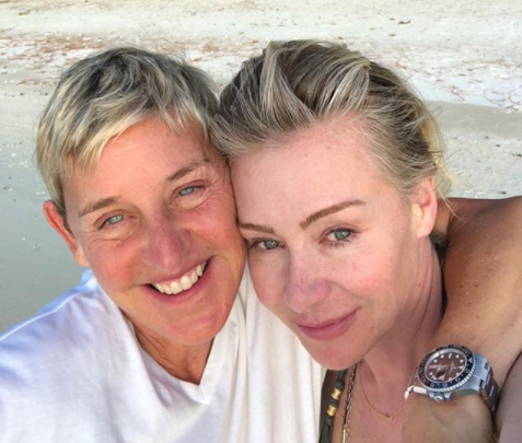 Ellen DeGeneres shares a makeup-free vacation selfie with wife Portia de Rossi. (Photo: theellenshow via Instagram)