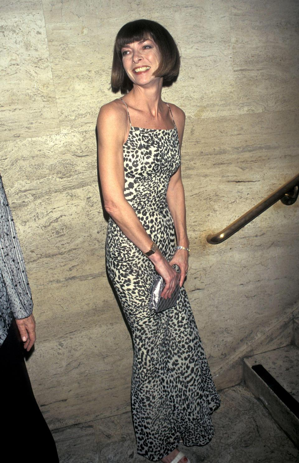 THEN: From her leopard-print coats to ridiculously chic frocks, Anna propelled the animal print to new heights.