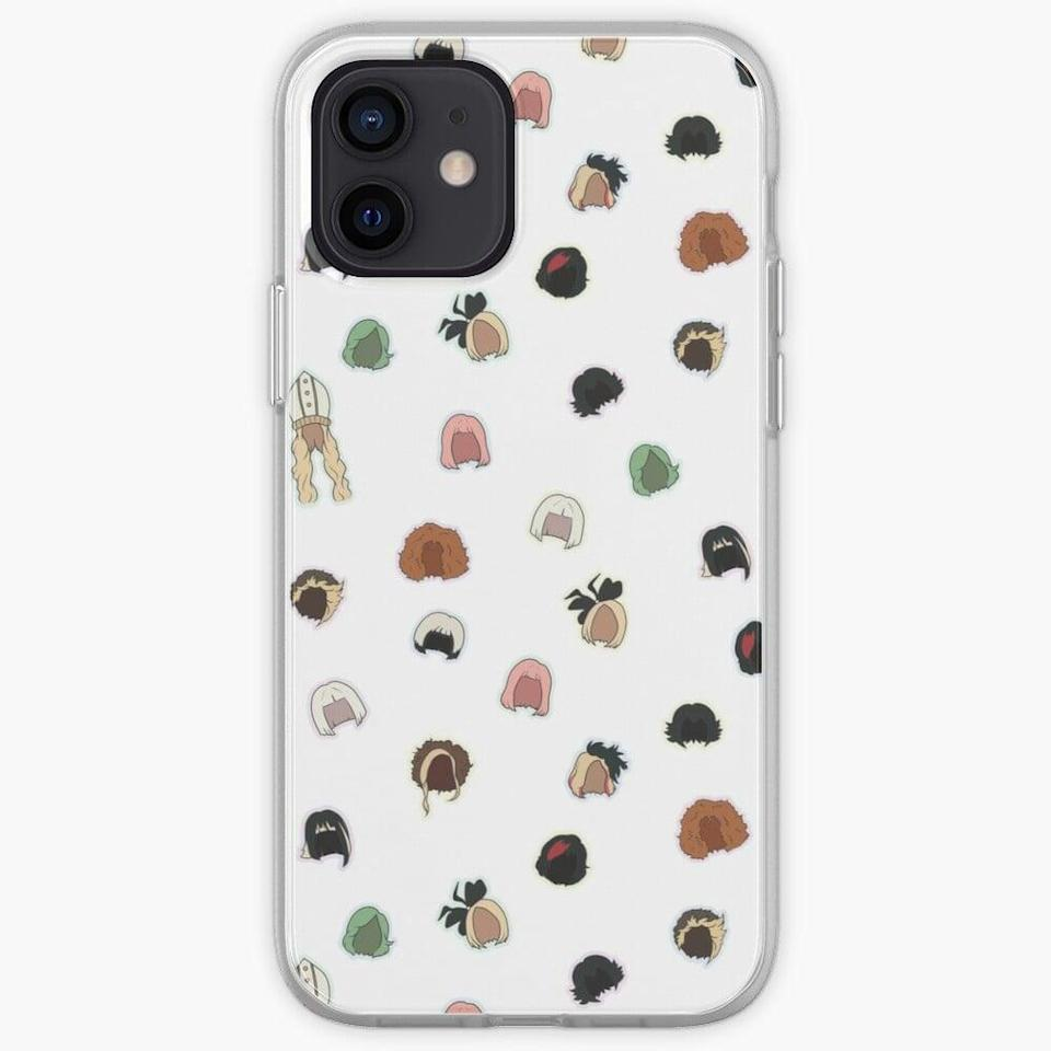 <p>They'll be able to carry Moira's wall of wigs with them with this <span>Moira's Wigs Pattern Phone Case</span> ($21).</p>