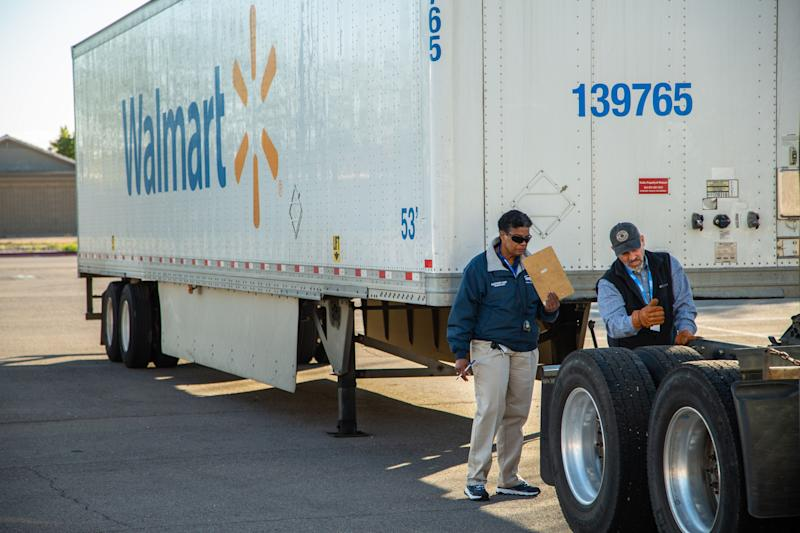 A driver at a Walmart hiring event in Casa Grande, Arizona.