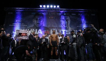 Britain Boxing - Anthony Joshua & Wladimir Klitschko Weigh-In - Wembley Arena - 28/4/17 Anthony Joshua during the weigh-in Action Images via Reuters / Andrew Couldridge Livepic