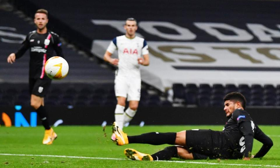 Gareth Bale watches Lask's Andrés Andrade turn his cross into the net for an own goal