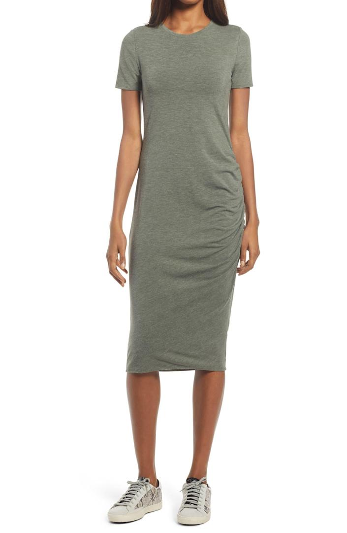 """<h2>Treasure & Bond Side-ruched Bodycon Dress</h2><br><strong><em>The Miracle-Worker</em></strong><br><br>Every body is a work of art, but we've all struggled to see the beauty in our own forms, especially as women. This simple t-shirt dress boasts strategically-placed ruching that helped to restore a reviewer's confidence in herself — and that is truly a beautiful thing.<br><br><strong>The Hype:</strong> 4.4 out of 5 stars; 292 reviews on <a href=""""https://shop.nordstrom.com/s/leith-ruched-body-con-tank-dress/5420732"""" rel=""""nofollow noopener"""" target=""""_blank"""" data-ylk=""""slk:Nordstrom.com"""" class=""""link rapid-noclick-resp"""">Nordstrom.com</a><br><br><strong>What They're Saying: </strong>""""I'm not a dressy person and have always wanted to try a t-shirt dress. Most dresses are either too boxy or the body-con are too revealing for my taste. I'm middle aged with children, so body has many, many imperfections. I had no expectations for this dress when I purchased. I was greatly surprised at how forgiving it really is. The ruched side really helps to hide those imperfections. I wear with tennis shoes or sandals and throw a jean jacket on to keep it casual looking. I really love this. I'll be buying more of these types of dresses, ruched of course. I'm 5' 8"""" and 155 lbs. I bought a large and it fits perfectly. I wish they had more colors. I'll definitely be looking for more of this type of dress in the future."""" — Gandymac, Nordstrom.com reviewer<br><br><em>Shop <strong><a href=""""https://www.nordstrom.com/brands/treasure-bond--9394?origin=productBrandLink"""" rel=""""nofollow noopener"""" target=""""_blank"""" data-ylk=""""slk:Treasure & Bond"""" class=""""link rapid-noclick-resp"""">Treasure & Bond</a> </strong>at Nordstrom</em><br><br><strong>Treasure & Bond</strong> Side Ruched Body-Con Dress, $, available at <a href=""""https://go.skimresources.com/?id=30283X879131&url=https%3A%2F%2Fwww.nordstrom.com%2Fs%2Ftreasure-bond-side-ruched-body-con-dress-regular-plus-size%2F4524654"""" rel=""""nofollow noopener"""" target=""""_b"""