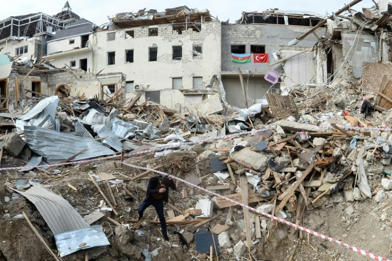 Destroyed buildings hit by shelling in a residential area of the city of Ganja, Azerbaijan