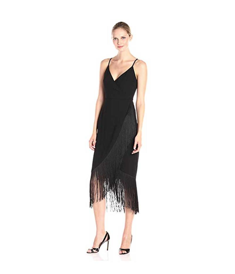 Black fringe wrap dress.