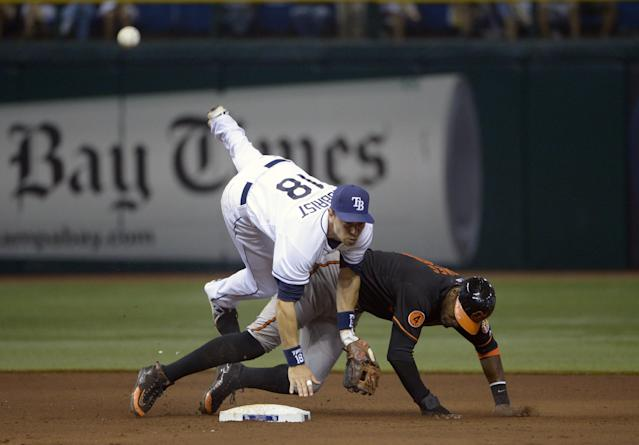 Tampa Bay Rays second baseman Ben Zobrist (18) flips over Baltimore Orioles' Adam Jones after throwing to first base to complete a double play on Danny Valencia during the fifth inning of a baseball game in St. Petersburg, Fla., Friday, Sept. 20, 2013.(AP Photo/Phelan M. Ebenhack)