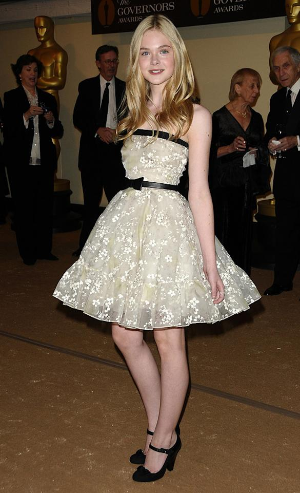 "<a href=""http://movies.yahoo.com/movie/contributor/1808461888"">Elle Fanning</a> attends the 2nd Annual AMPAS Governors Awards in Los Angeles on November 13, 2010."