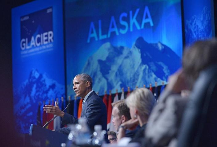US President Barack Obama speaks at the Global Leadership in the Arctic: Cooperation, Innovation, Engagement and Resilience (GLACIER) Conference in Anchorage, Alaska on August 31, 2015 (AFP Photo/Mandel Ngan)