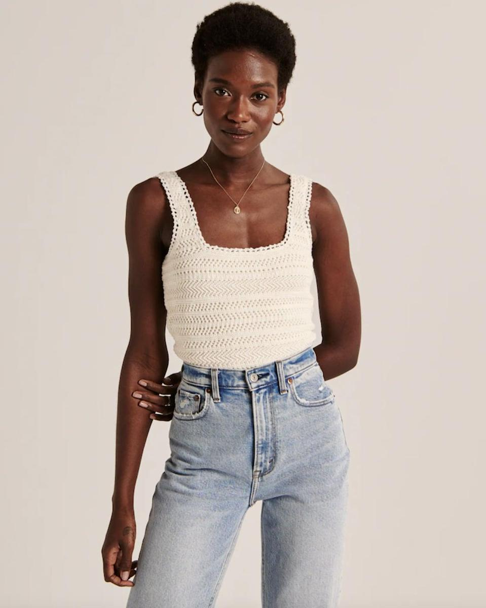 <p>The texture of this <span>Crochet Squareneck Tank</span> ($49) makes it so much more elevated.</p>