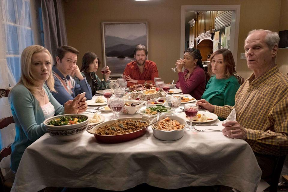 "<p>Eleanor: ""Christopher, we said we're not talking politics.""</p><p>Chris: ""I'm not going to ruin Thanksgiving, I promise. Rest assured.""</p>"