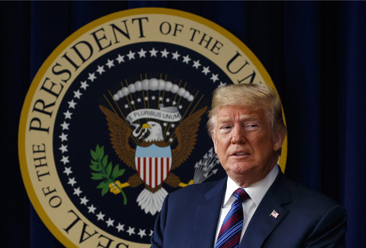 """President Trump said he has """"absolute right to PARDON"""" himself but has """"done nothing wrong"""" in the Russia probe. (Photo: AP/Evan Vucci)"""