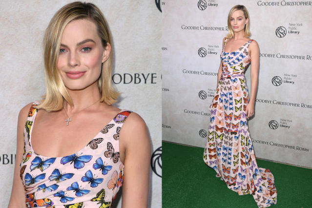 Margot Robbie wears a custom Versace dress. (Photo: Getty Images)