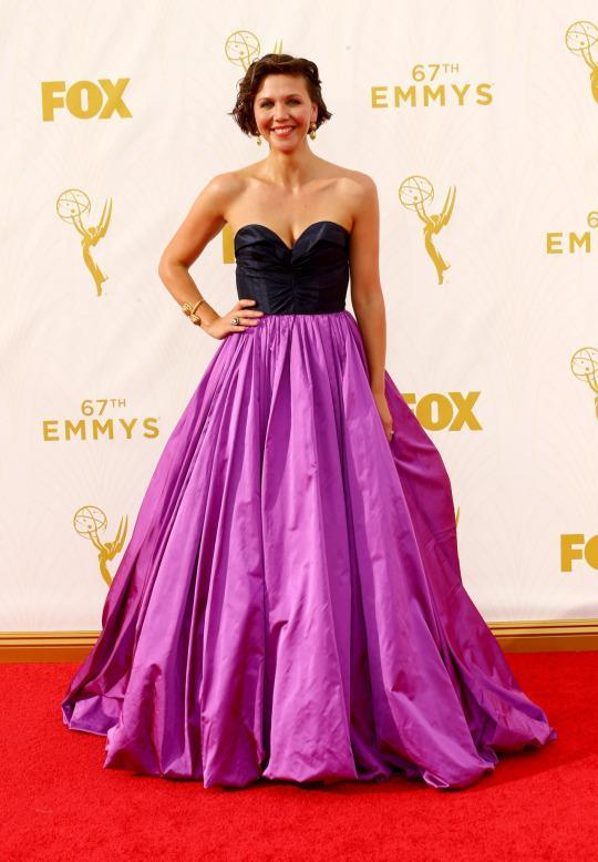 <p>Maggie Gyllenhaal, in an Oscar de la Renta gown from Peter Copping's first collection for the house, was just OK. She gets props for the designer choice but the big skirt did nothing for her. </p>
