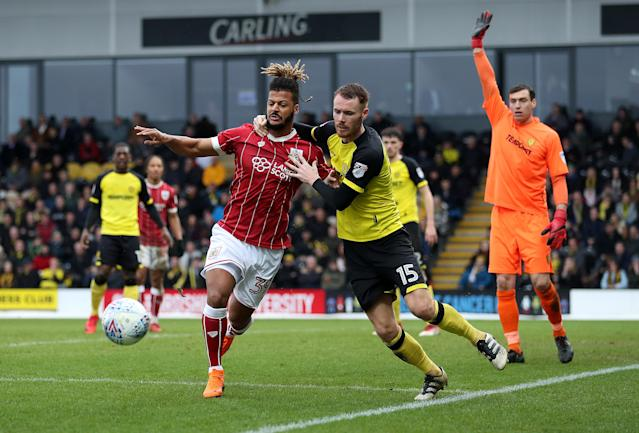 "Soccer Football - Championship - Burton Albion vs Bristol City - Pirelli Stadium, Burton-on-Trent, Britain - March 10, 2018 Bristol CityÕs Lois Diony in action with Burton AlbionÕs Tom Naylor Action Images/John Clifton EDITORIAL USE ONLY. No use with unauthorized audio, video, data, fixture lists, club/league logos or ""live"" services. Online in-match use limited to 75 images, no video emulation. No use in betting, games or single club/league/player publications. Please contact your account representative for further details."