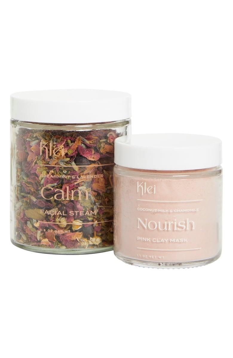 <p>Give yourself the most relaxing and calming facial with the <span>Klei Nourish &amp; Calm Facial Set</span> ($29, originally $58). It includes a facial steam tea and a clay mask. </p>