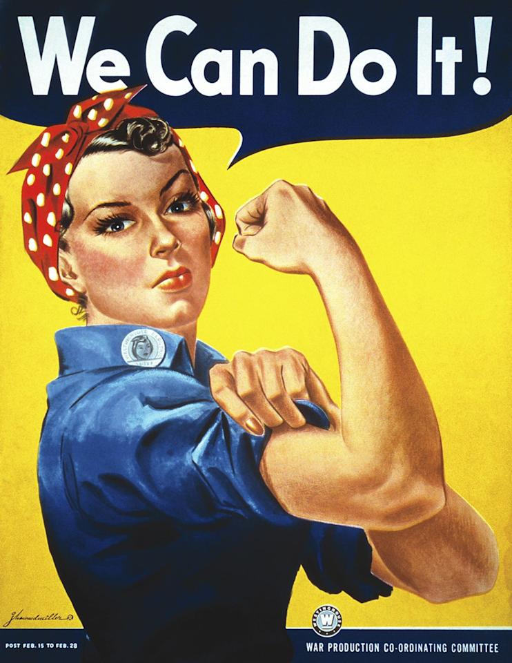 """<p>Dressing up as Rosie the Riveter never goes out of style. Plus, it's such an easy costume to put together, so you know you won't be spending too much money on a DIY costume. Just make sure to sport the same red lips as her!</p><p><strong>What You'll Need</strong>: <a href=""""https://www.amazon.com/fuinloth-Womens-Chambray-Button-Sleeve/dp/B07PKBWPCX/ref=sr_1_9?keywords=blue+jean+top+for+women&qid=1568212919&s=gateway&sr=8-9"""" target=""""_blank"""">Jean top</a> ($22, Amazon); <a href=""""https://www.amazon.com/Sea-Team-Cotton-Headband-Headwrap/dp/B01B6172M0/ref=sr_1_14?keywords=red+bandana+for+women&qid=1568212957&s=gateway&sr=8-14"""" target=""""_blank"""">red bandana</a> ($13, Amazon); <a href=""""https://www.amazon.com/Paris-Hydrating-350-British-Red/dp/B004BD0YNK/ref=sr_1_6?keywords=red+lipstick&qid=1568212983&s=gateway&sr=8-6"""" target=""""_blank"""">red lipstick</a> ($6, Amazon) </p>"""