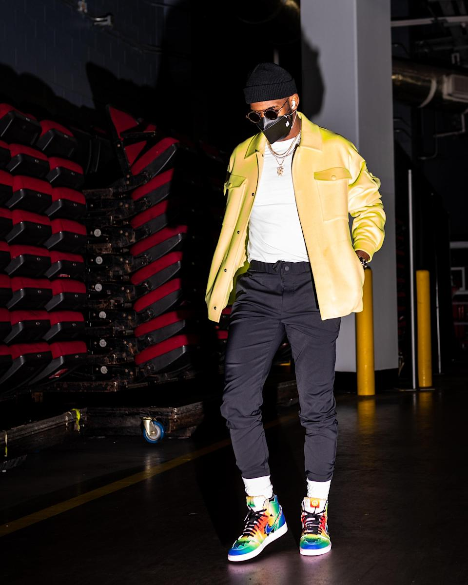 Chris Paul of the Phoenix Suns arrives for a game against the Rockets in Houston, January 20, 2021.