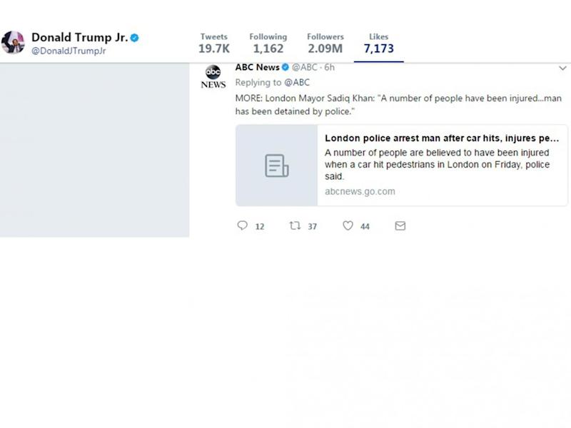 Donald Trump Jr liked an early report on the incident (Twitter)