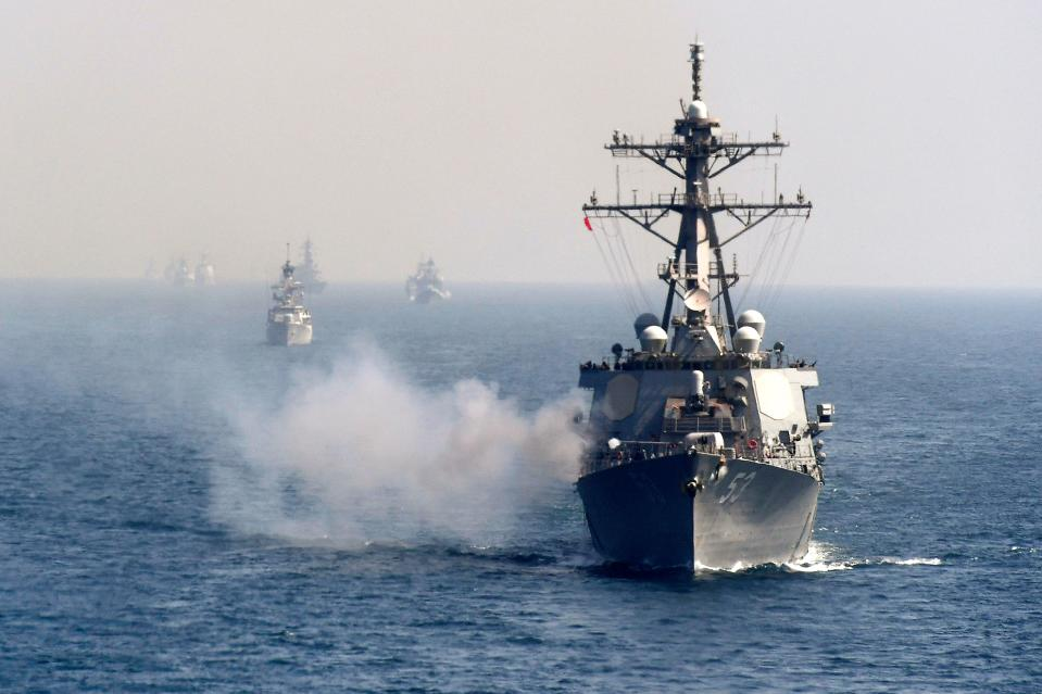 In this picture taken on February 15, 2021 Naval ships from various countries are pictured during the multinational naval exercise 'AMAN-21' in the Arabian Sea near Pakistan's port city of Karachi as some 45 countries participating with ships and observers. (Photo by Asif HASSAN / AFP) (Photo by ASIF HASSAN/AFP via Getty Images)
